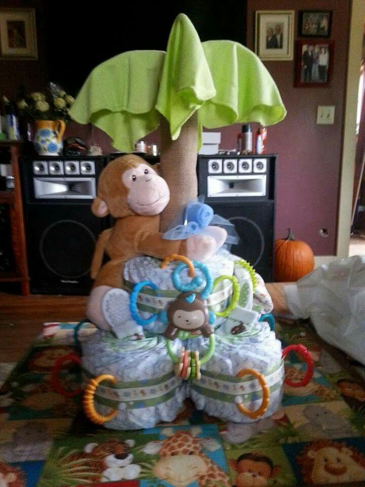 Jungle Theme Monkey Diaper Cake In 2019 Baby Shower