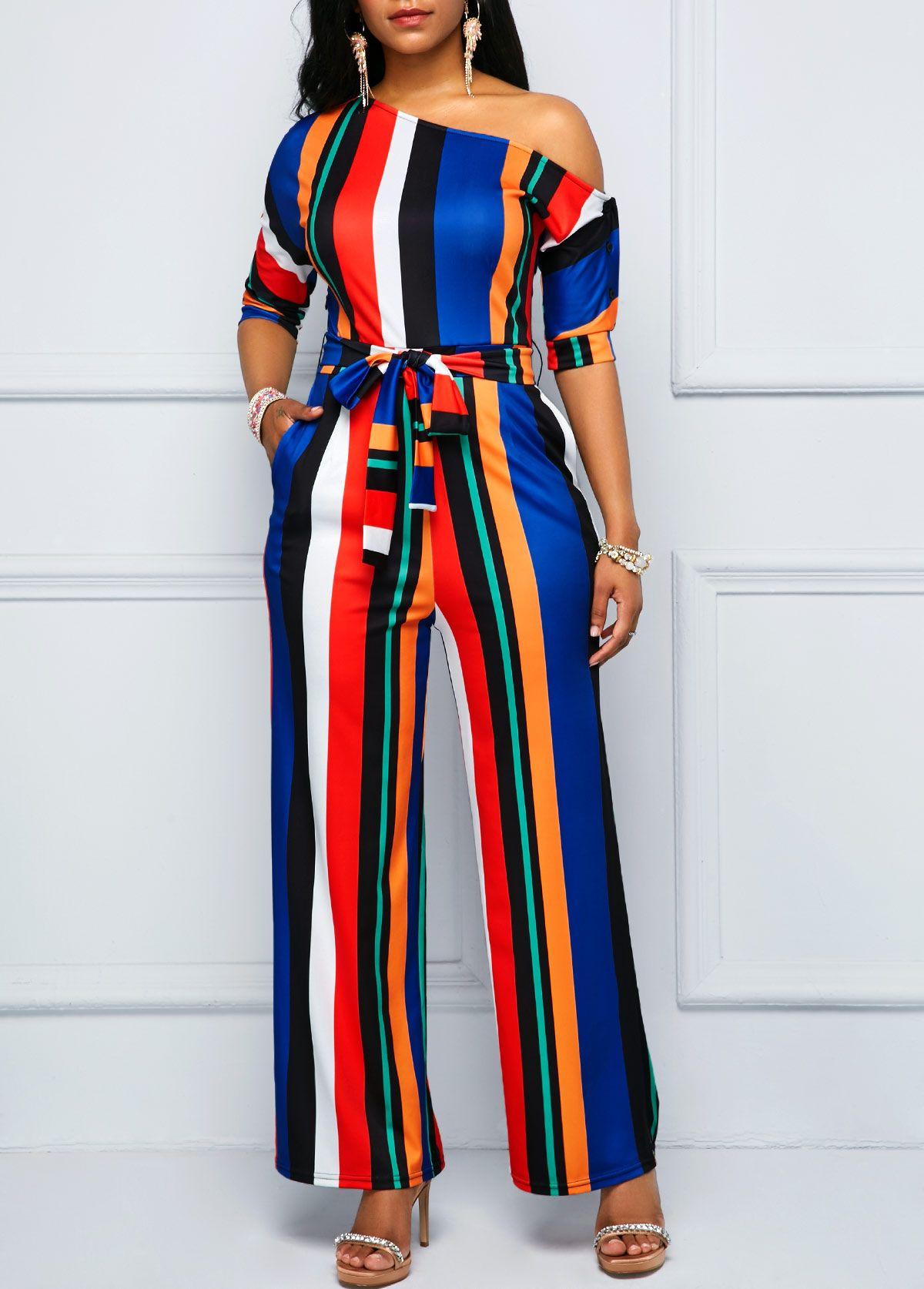 f0ea54cc25d2 Multi Stripe Pocket Skew Neck Belted Jumpsuit