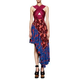 Stella Mccartney Cross Front Paisley Asymmetric Dress
