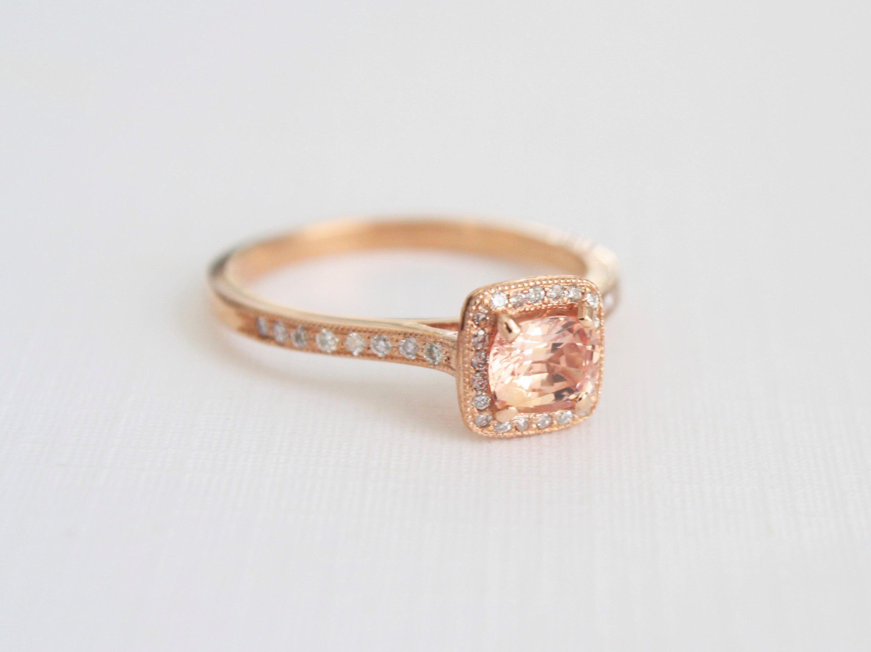 Cushion padparadscha sapphire diamond halo engagement ring in k