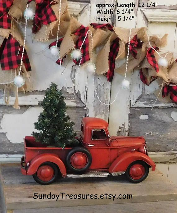 large metal old fashioned red truck christmas decor primitive centerpiece christmas tree christmas arrangement sale - Red Truck Christmas Decor