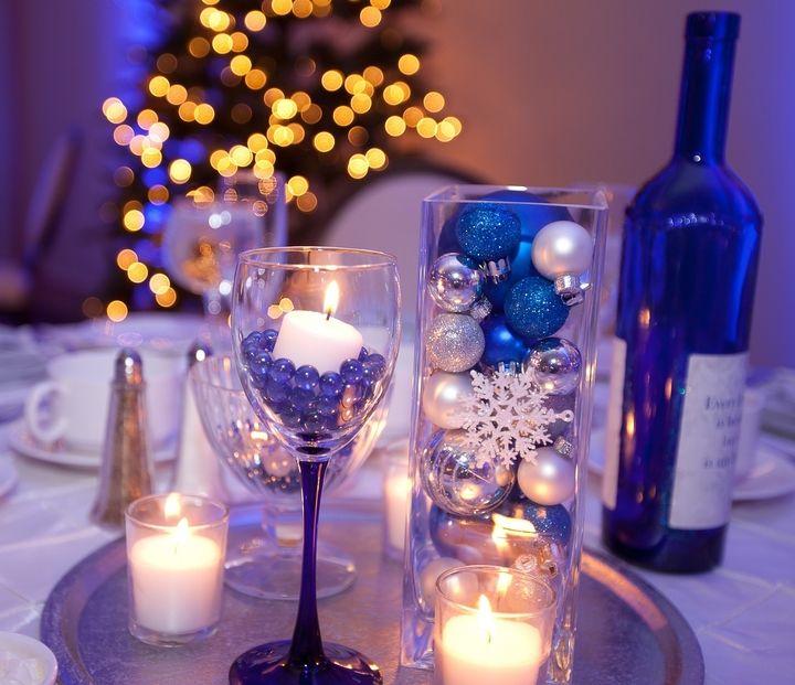 Blue Silver Winter Wonderland Centerpieces