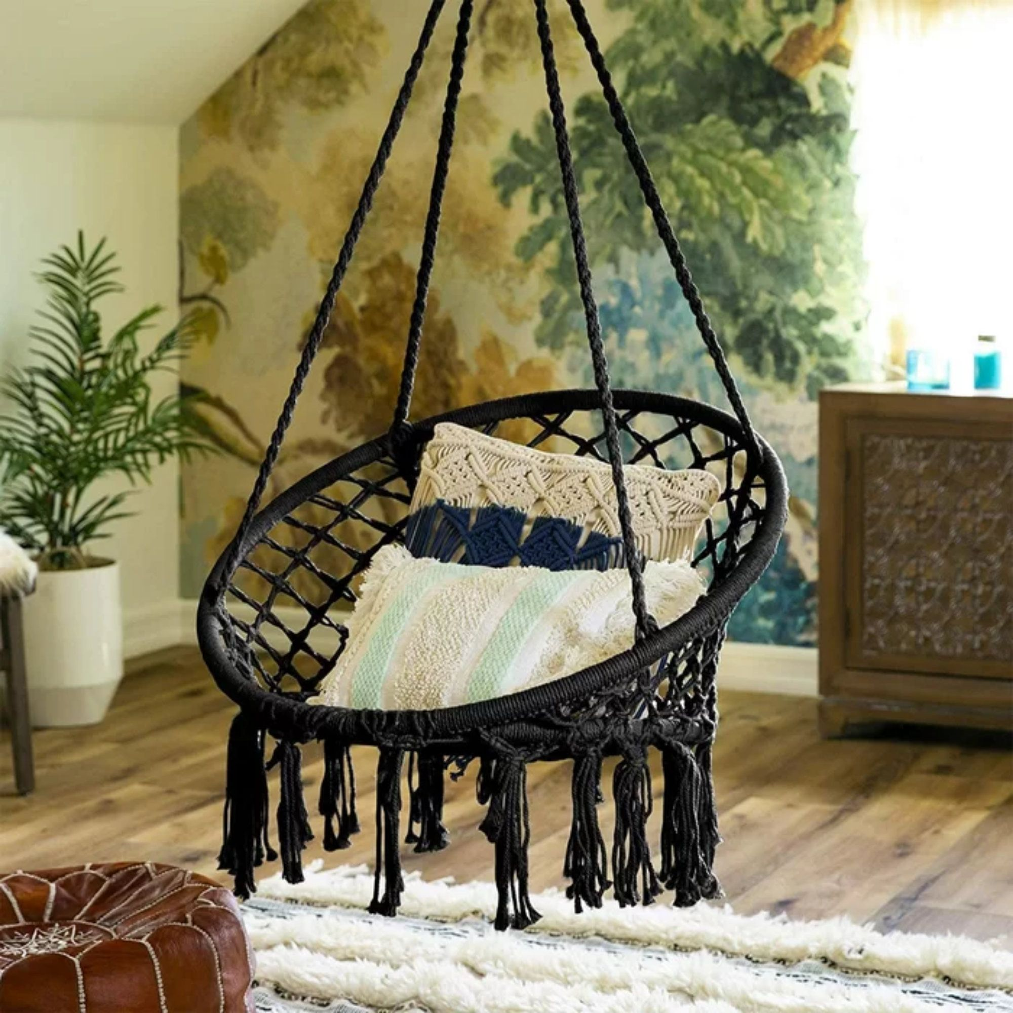Handmade Macrame Indoor Outdoor Black Round Hammock Swing