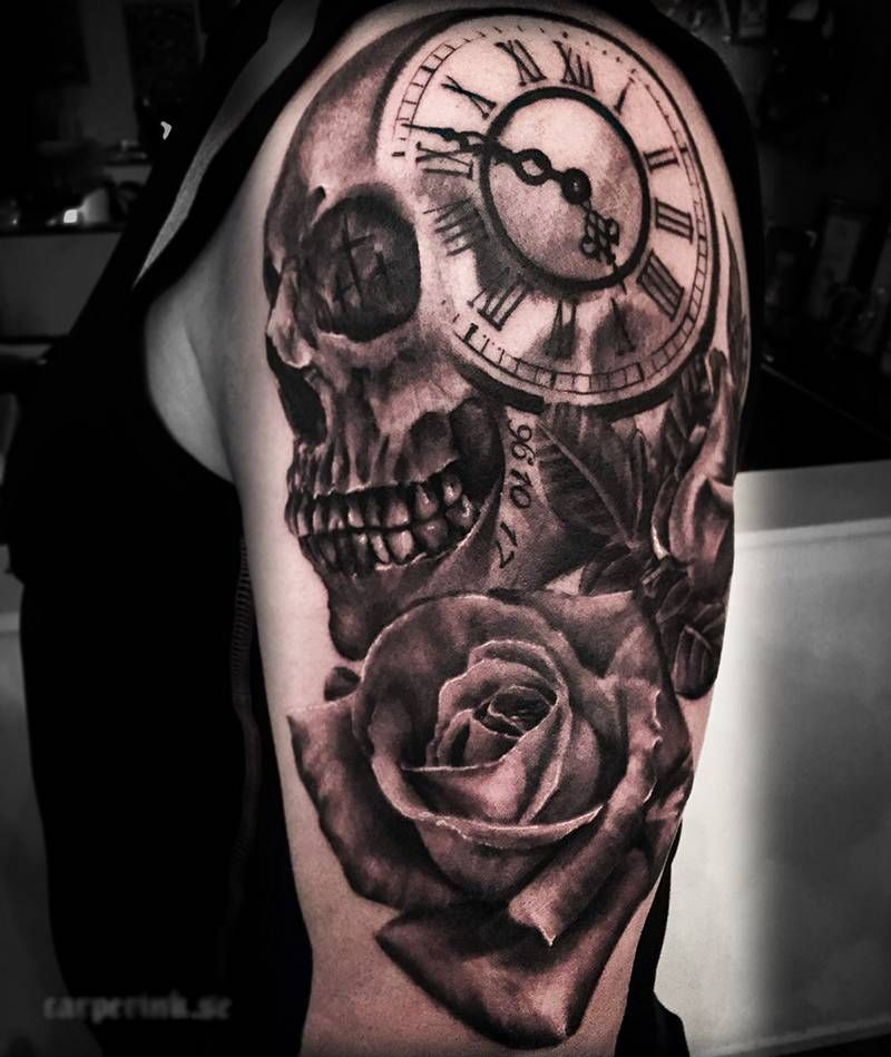 Skull Clock Rose Tattoo Designs And Ideas 2017 Collection Clock Tattoo Design Clock Tattoo Clock And Rose Tattoo
