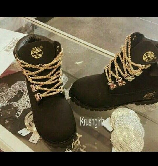 custom black and gold timberlands with chain laces