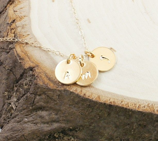 14k gold initial necklace three letter charm necklace personalized jewelry aftcra
