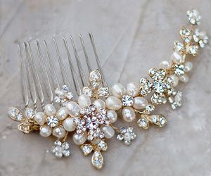 beautiful soft gold, freshwater pearl hair comb comb accented with…