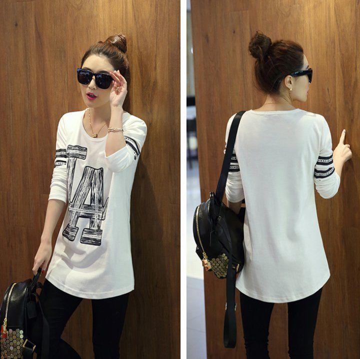 CW21549 Long sleeve spring T-shirt Korean style bottoming shirt