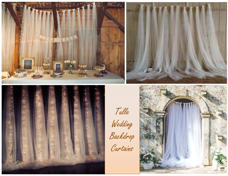 White Tulle Backdrop Curtains Wedding Backdrop Bridal Shower