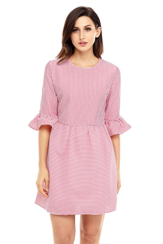Red White Stripe Flounce Sleeve Seersucker Dress