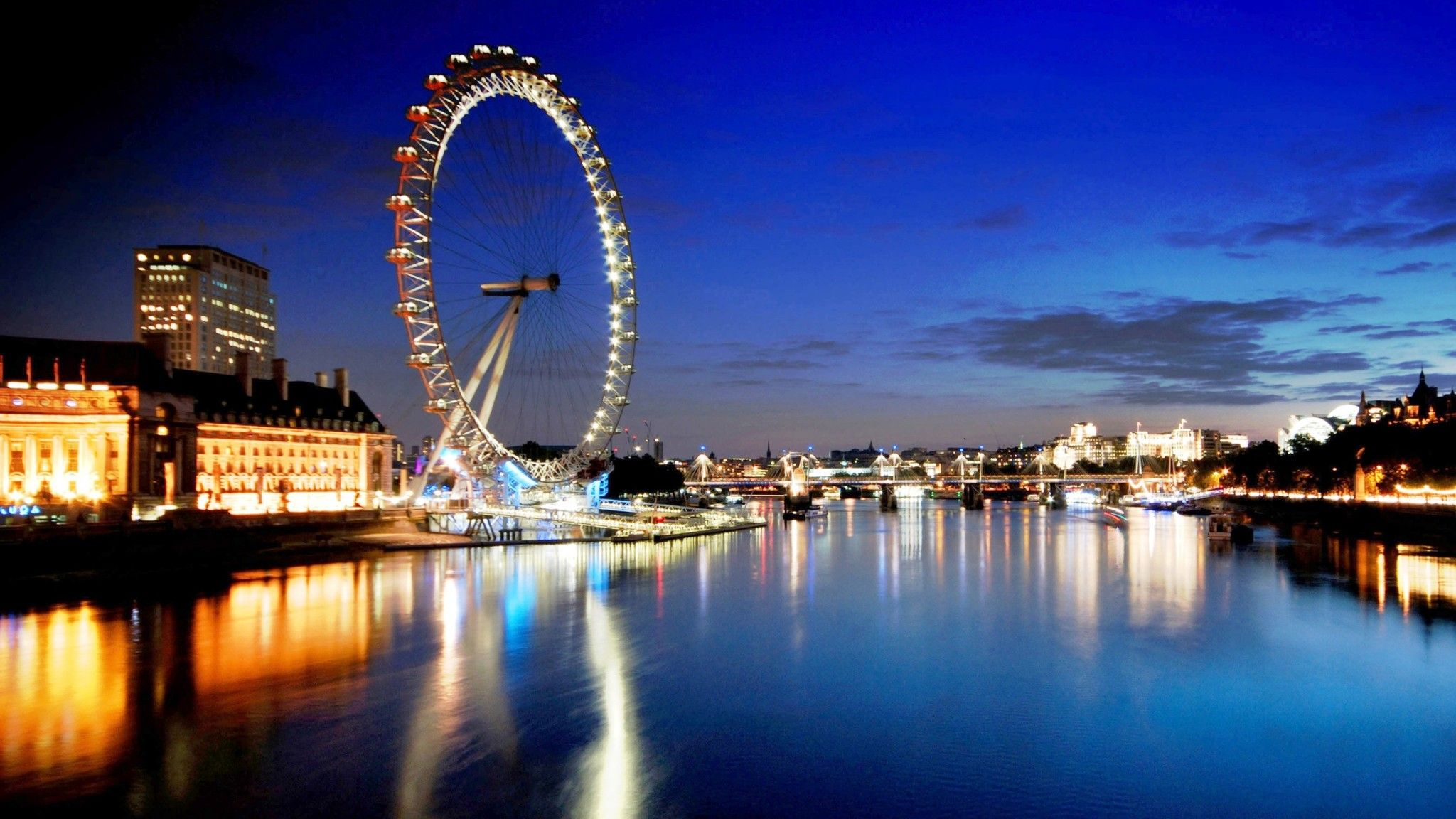 London Eye River Thames at Night HD Wallpaper