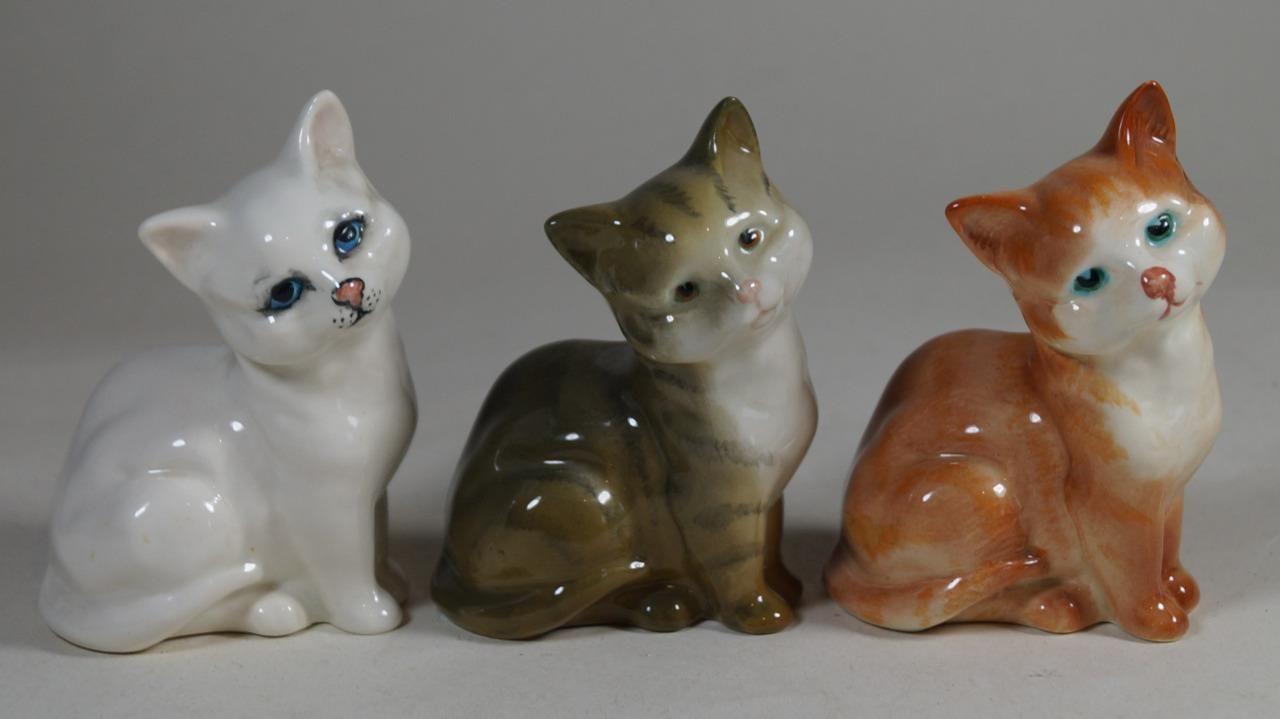 Beswick Set Of 3 Kitten Melbourne Cat Figures 1436 Ginger Grey Striped White Ebay