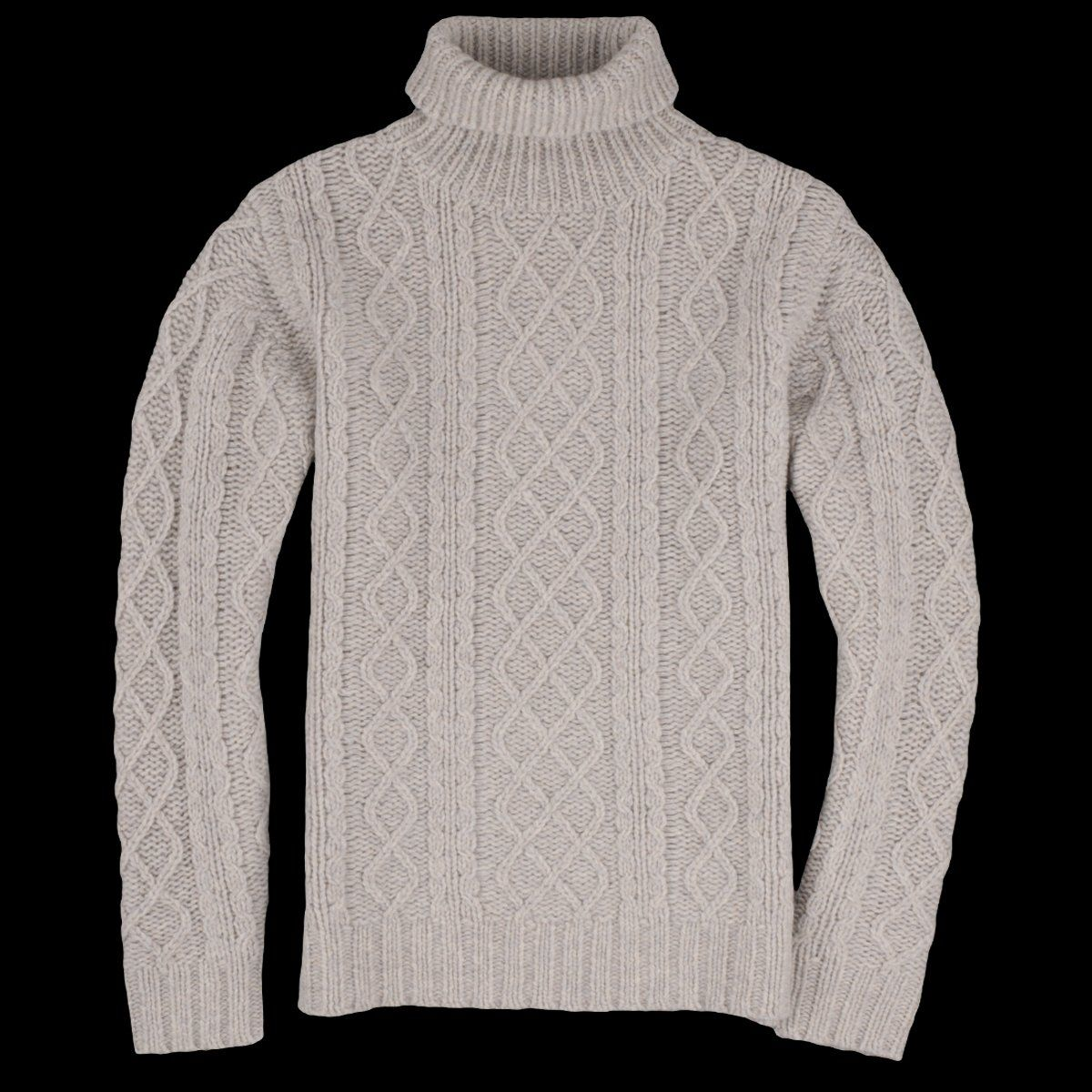 d50731d7a854 Fisherman Cable Knit Roll Neck Pullover in Pearl