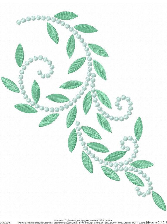 Flower Embroidery pattern Machine Embroidery Design Sprig Swirl Сurl ...