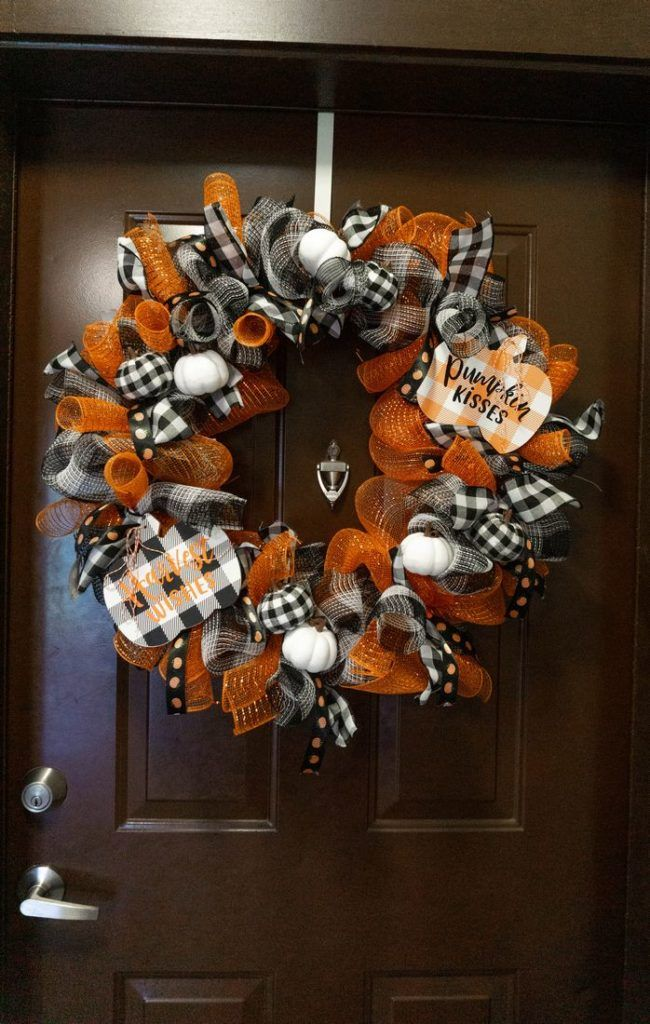 Fall Pumpkin Buffalo Plaid Wreath