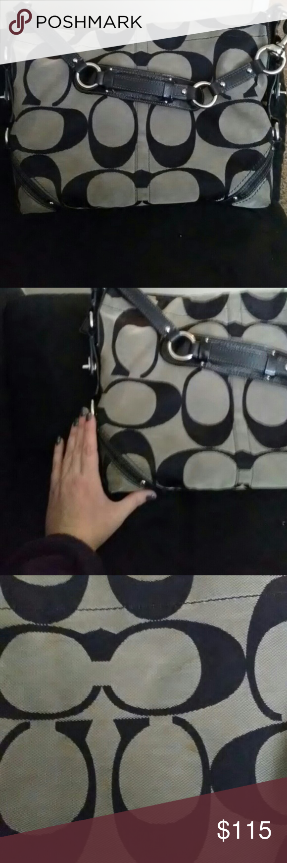 Large coach purse Minor flaws as shown in pictures. Could just use a little spot clean. Coach Bags Shoulder Bags