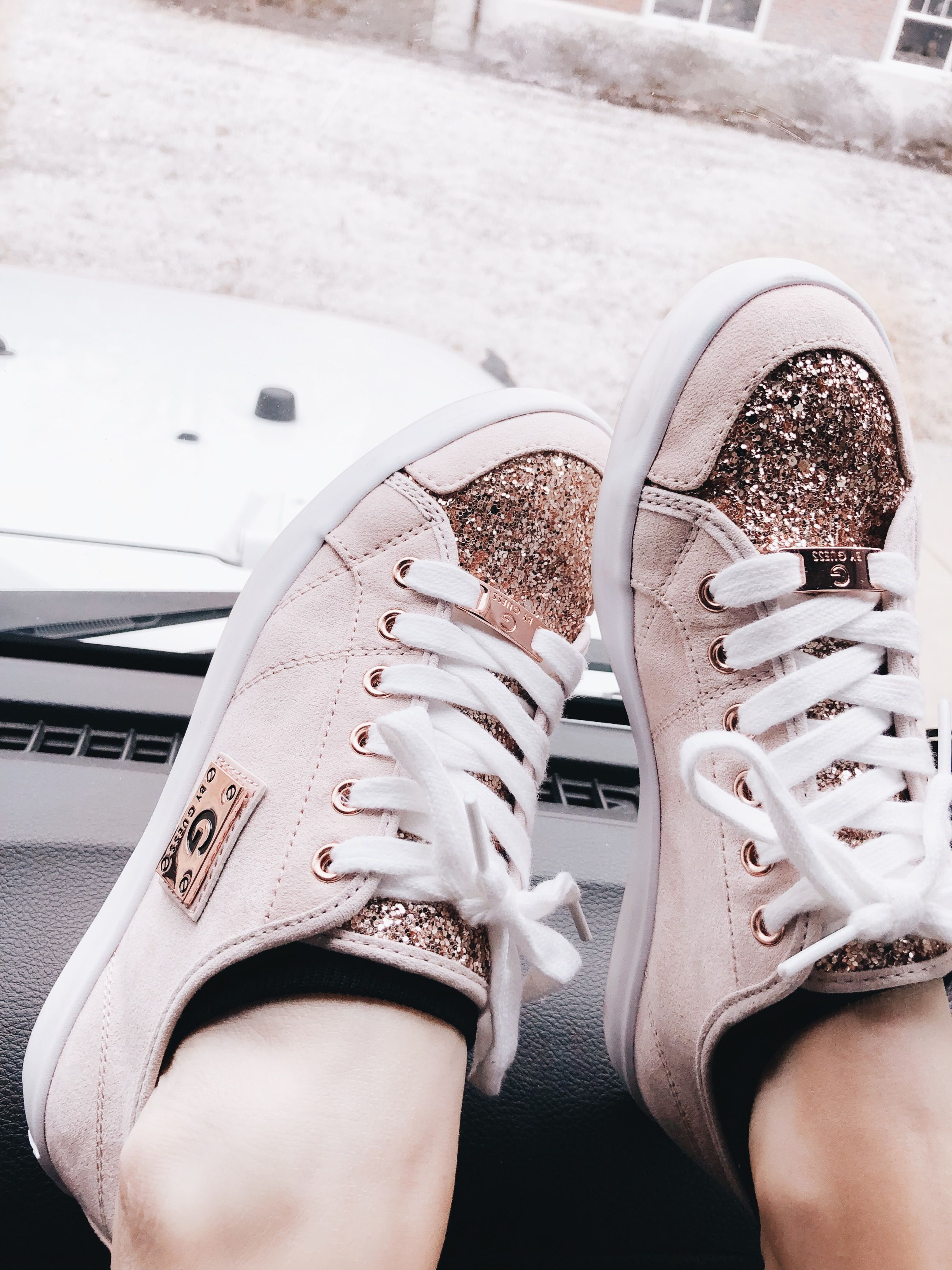 the latest 8f4e2 7f1b3 Rose gold G by Guess Trainers Basic white girl shoes IG  neishalovesit