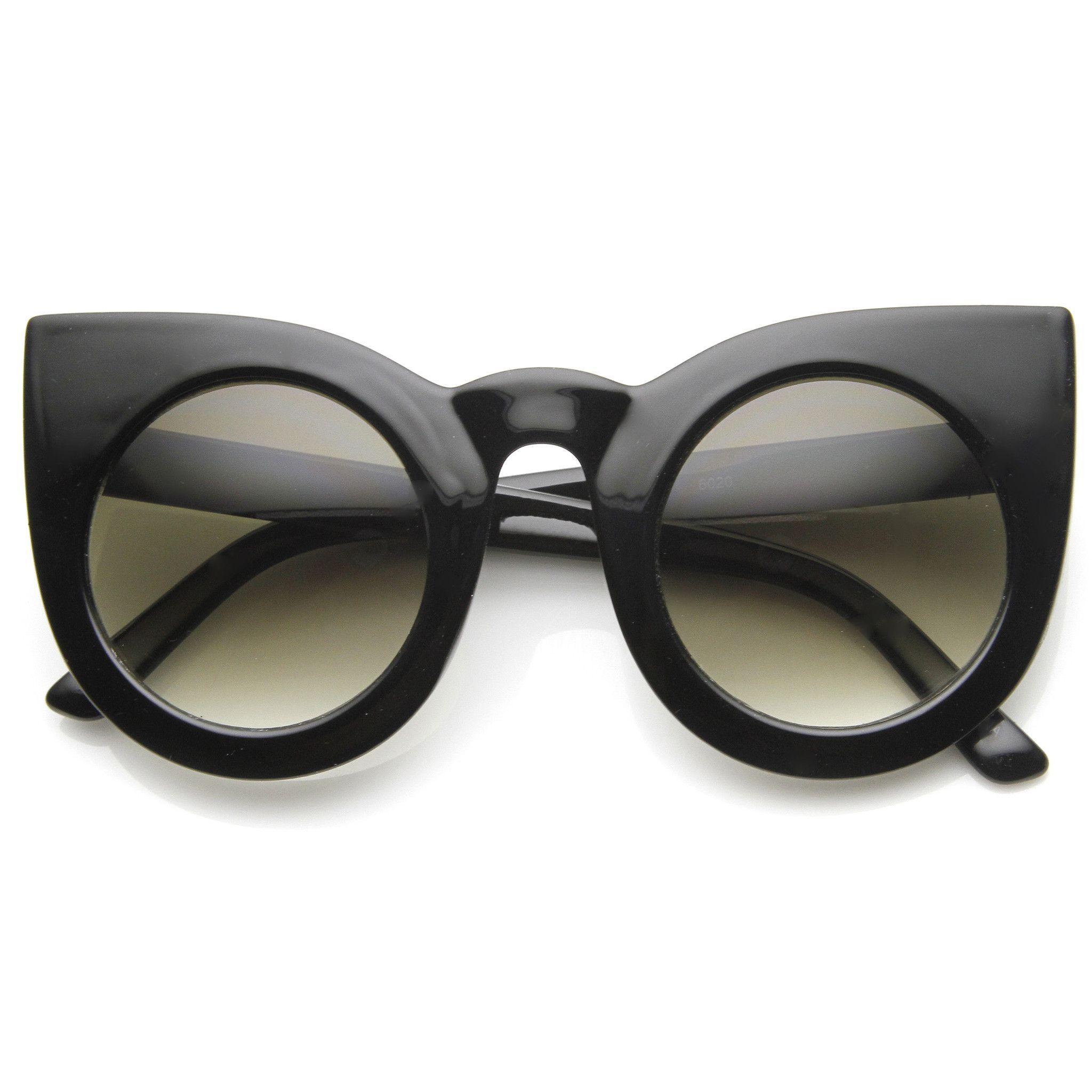32b7b524c9 Designer Inspired Large Round Circle Pointed Cat Eye Sunglasses 9180
