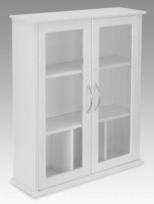 Brand New White 2 Door Wall Mounted Bathroom Cabinet With Glass Doors Amazon Co Uk Ki Wall Mounted Bathroom Cabinets Glass Cabinet Doors Bathroom Wall Cabinets