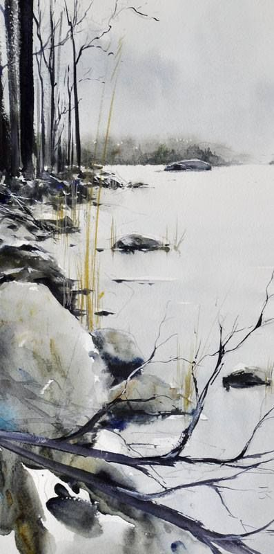 Waters Edge Arbres En Aquarelle Paysage Aquarelle Paysage