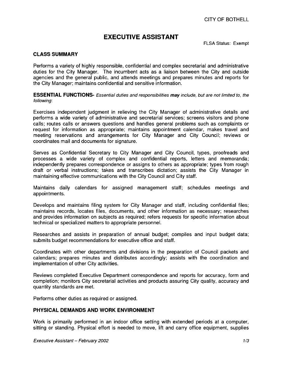 sample laveyla com executive assistant job description resume ...