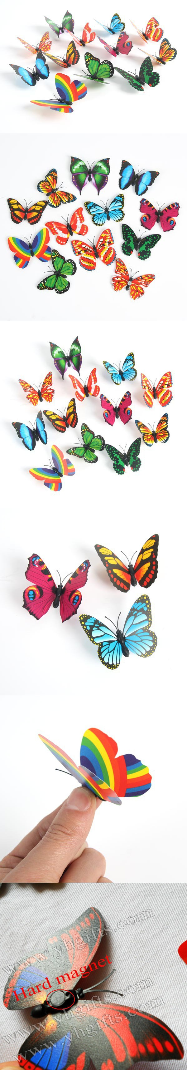 LOT Plastic butterfly fridge magnets Kids toys Early educational