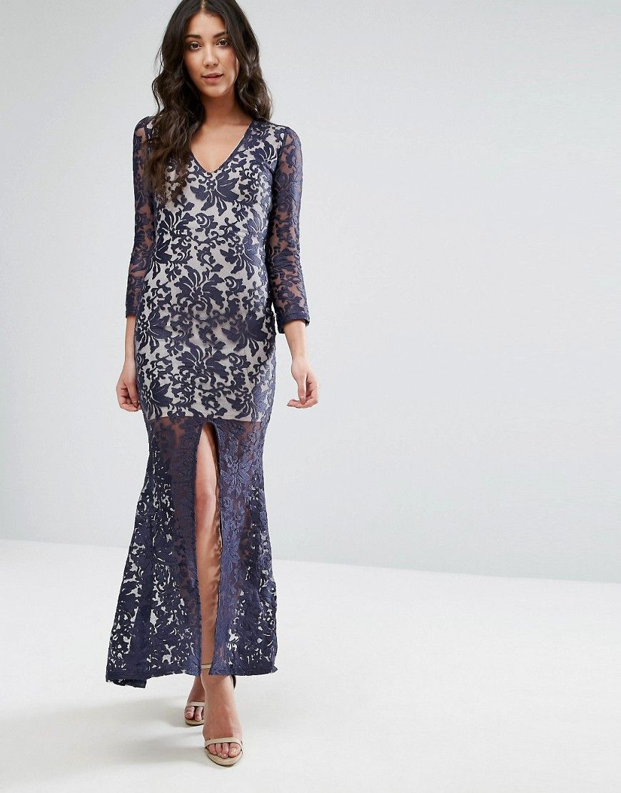 Club l brocade embroidery long sleeve maxi dress with split front