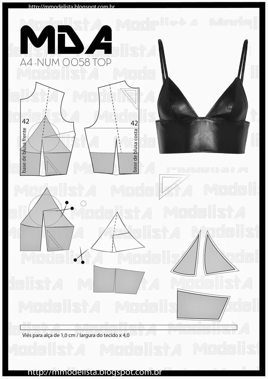 ModelistA: A4 NUM 0058 TOP   Patrones corpiños   Pinterest   Molde ...