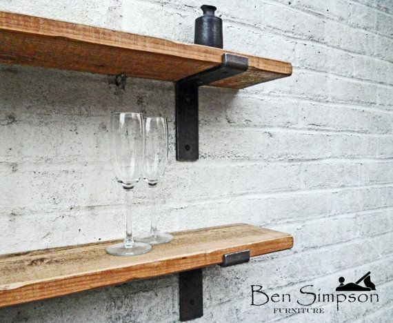 Rustikale Regale rustic shelves shelf industrial metal brackets thin solid wood 22cm