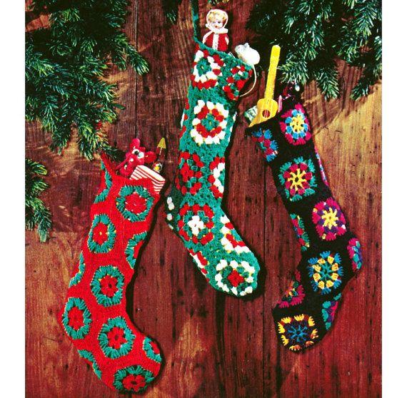 Vintage Crochet Pattern Granny Square Christmas Stocking Pattern ...