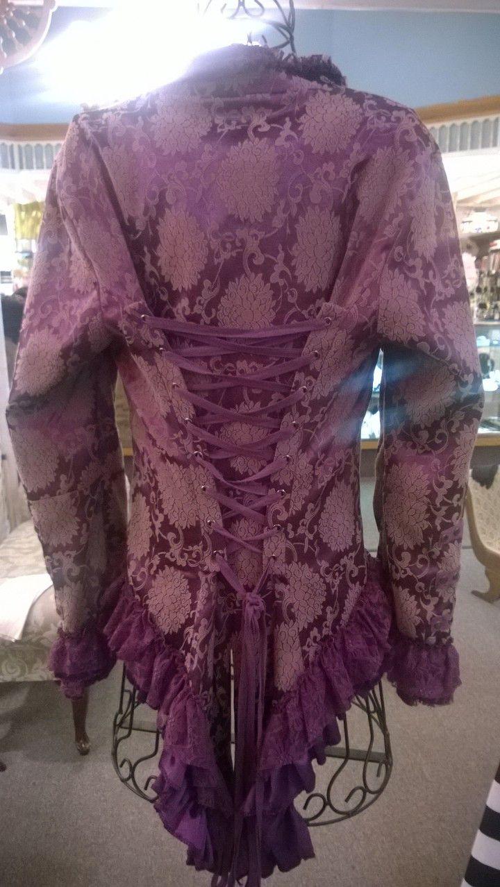 Pink n purple dress  Purple brocaid ruffled rock n roll tails w corset back sz M