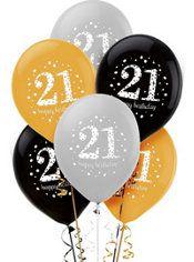 21st Birthday Balloons 6ct