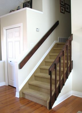 80S Banister And Entryway Update Stair Railing Makeover | Staircase Replacement Near Me | Deck | Handrail | Carpeted Stairs | Riser | Stair Runner