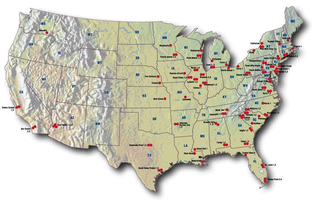 USA Nuclear Plant Map Nuclear Power Reacters In The Usa - Nuclear power plants us map