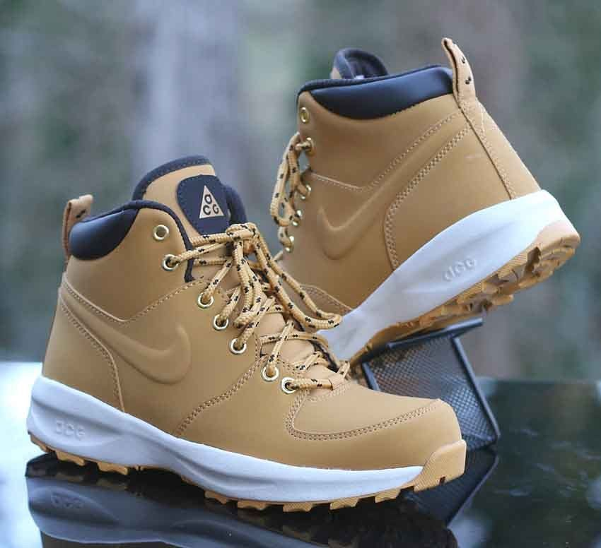 f6fb787318ce64 Nike ACG Manoa Leather GS Boots Haystack Velvet Brown 472649-700 Size 4Y   Nike  Boots