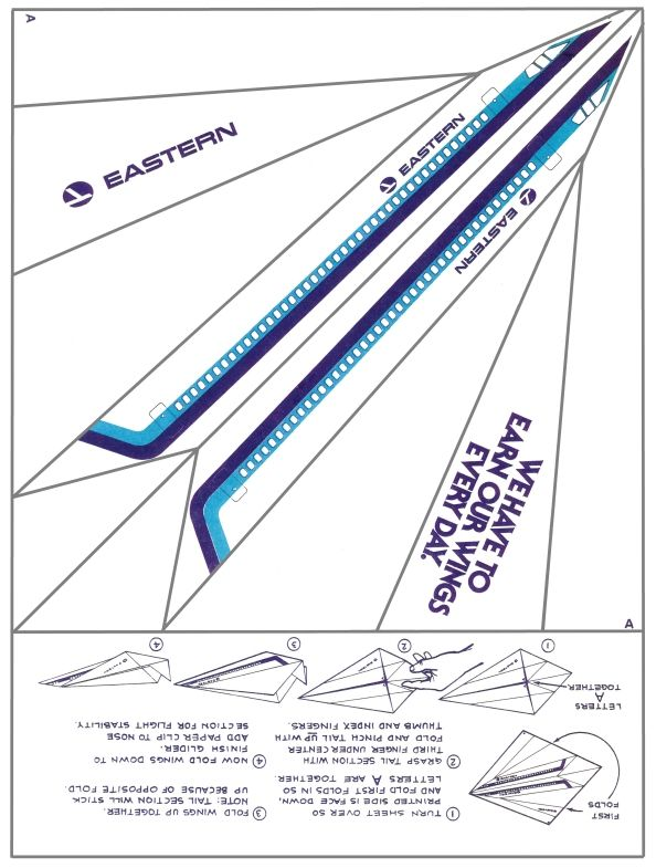 eastern airlines paper airplane print it fold it fly it airline history non twa. Black Bedroom Furniture Sets. Home Design Ideas