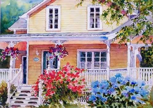 Nicole Gelinas Beautiful Rosemere Watercolor Architecture
