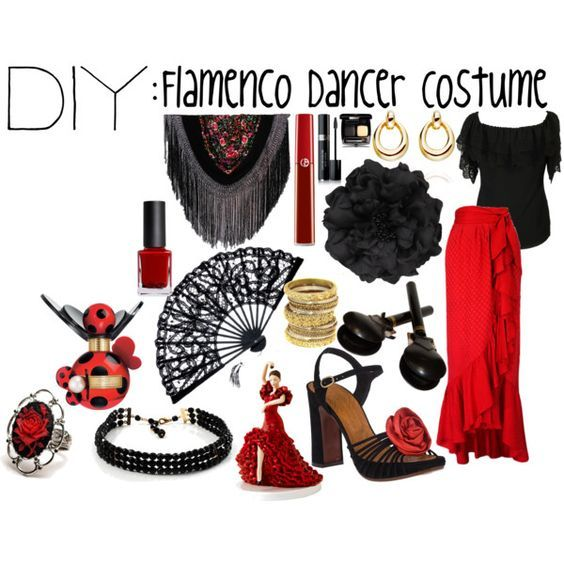DIY: Flamenco Dancer Costume by theekissoflife on Polyvore featuring Alice by Temperley, Yves Saint Laurent, Chie Mihara, Avalaya, Dinny Hall, Other, Armani Beauty, Chanel, Marc Jacobs and Diego Dalla Palma