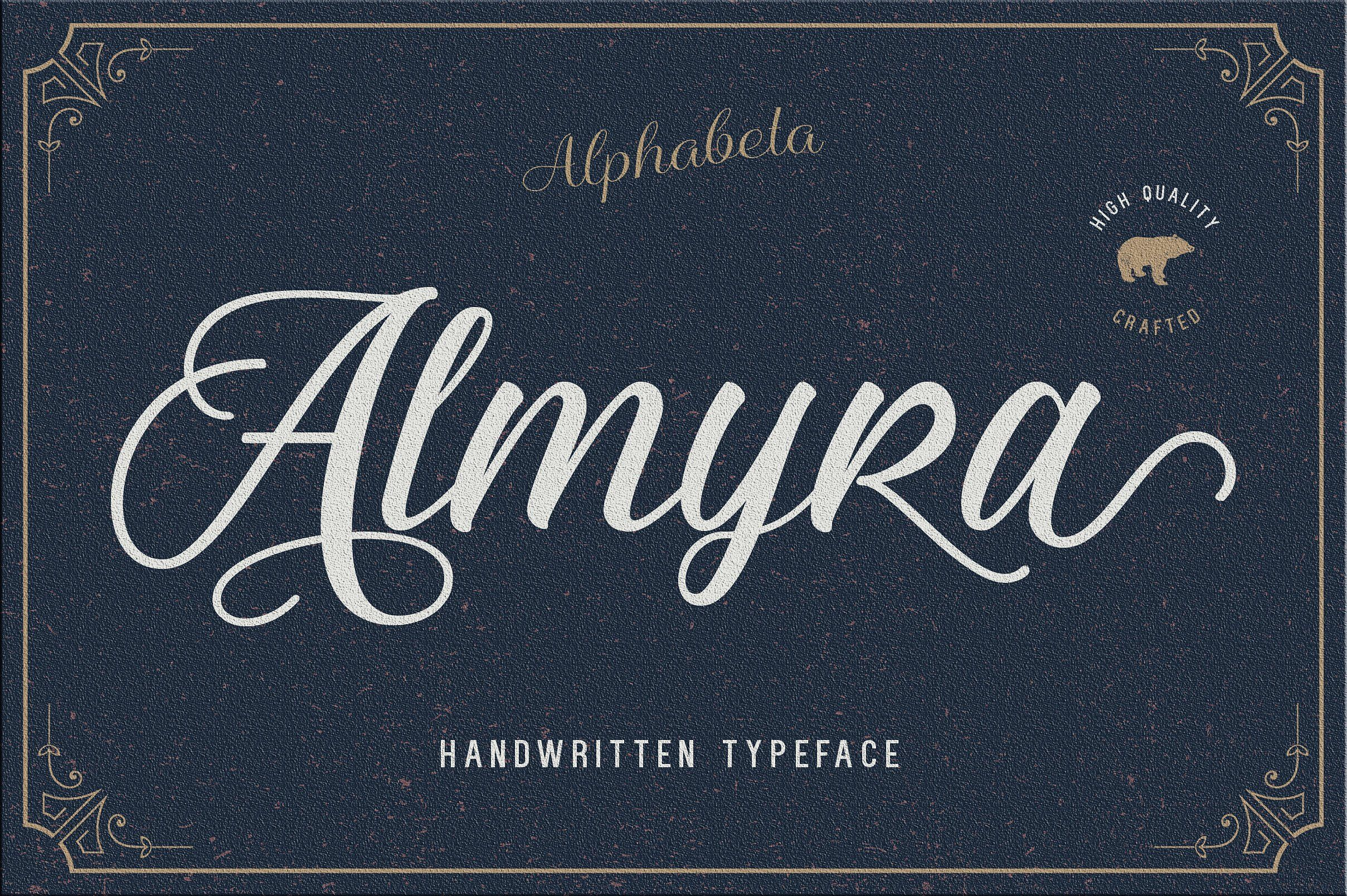 Beautiful hand lettered calligraphy font almyra is perfect for