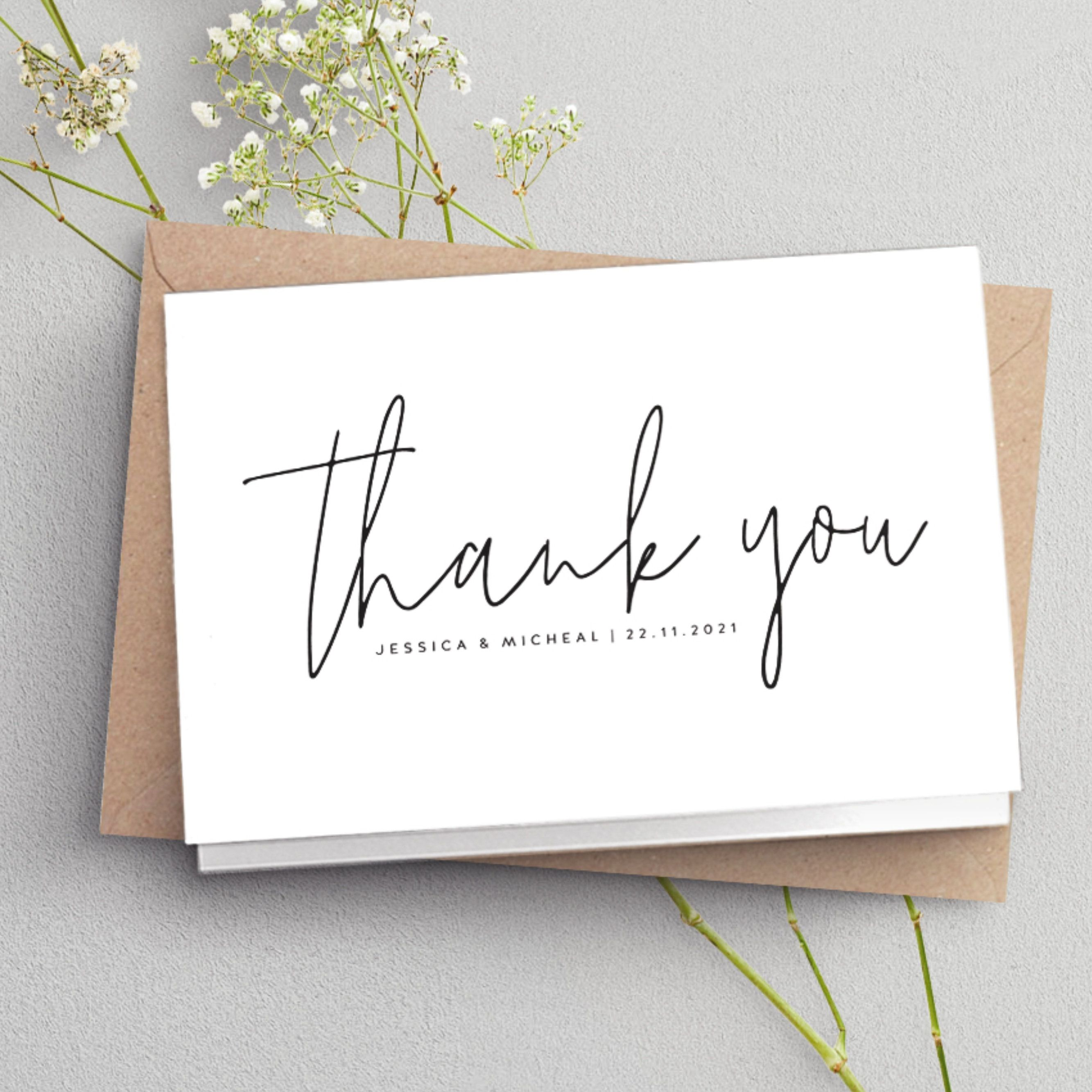 Folded Thank You Cards Wedding Thank You Card Simple Folded