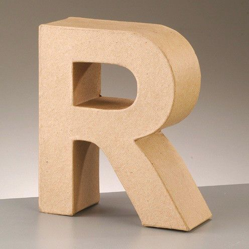 Cardboard-Letter-R-3D-Paper-Mache-Craft-Free-Standing-Brown-Buff-Choose-Size