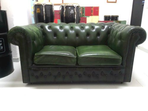 Chesterfield Divano ~ Divano posti verde chester chesterfield vintage originale