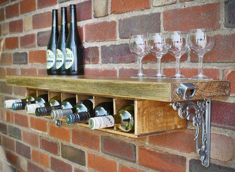 Rustic Wooden Wine Rack Shelf