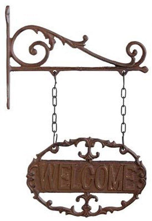 Hanging Welcome Sign Cast Iron Garden Door Gate Oval Wall Plaque Bracket New