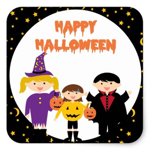 happy halloween cute trick or treat kids square sticker - Happy Halloween Stickers