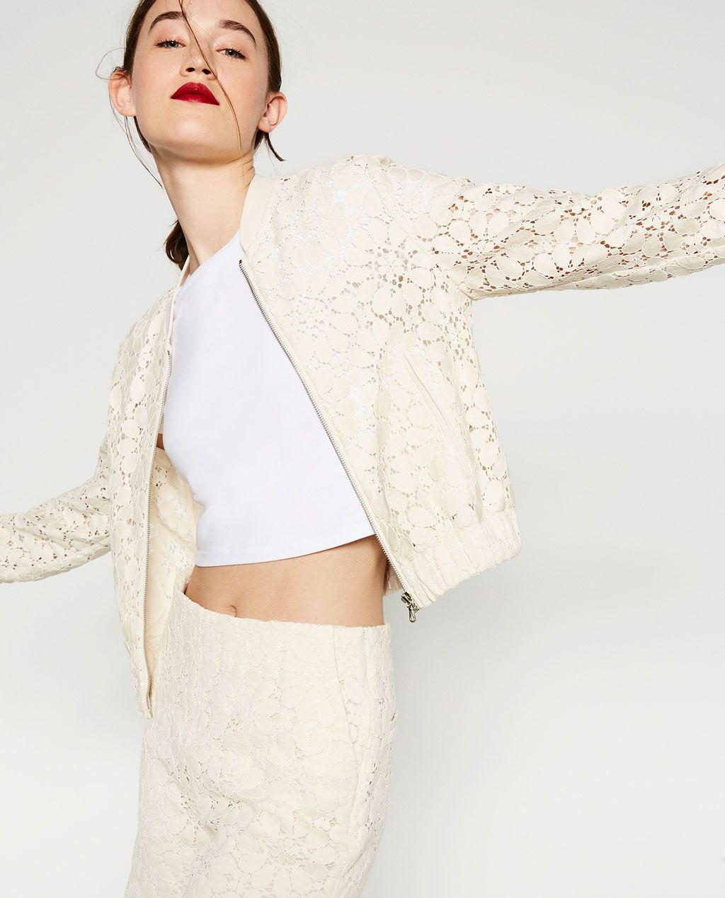 Image 3 of GUIPURE LACE BOMBER JACKET from Zara | sporty | Pinterest