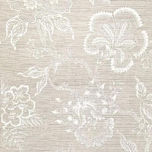 Schumacher Hothouse Flowers Sisal Fog & Chalk Wallpaper