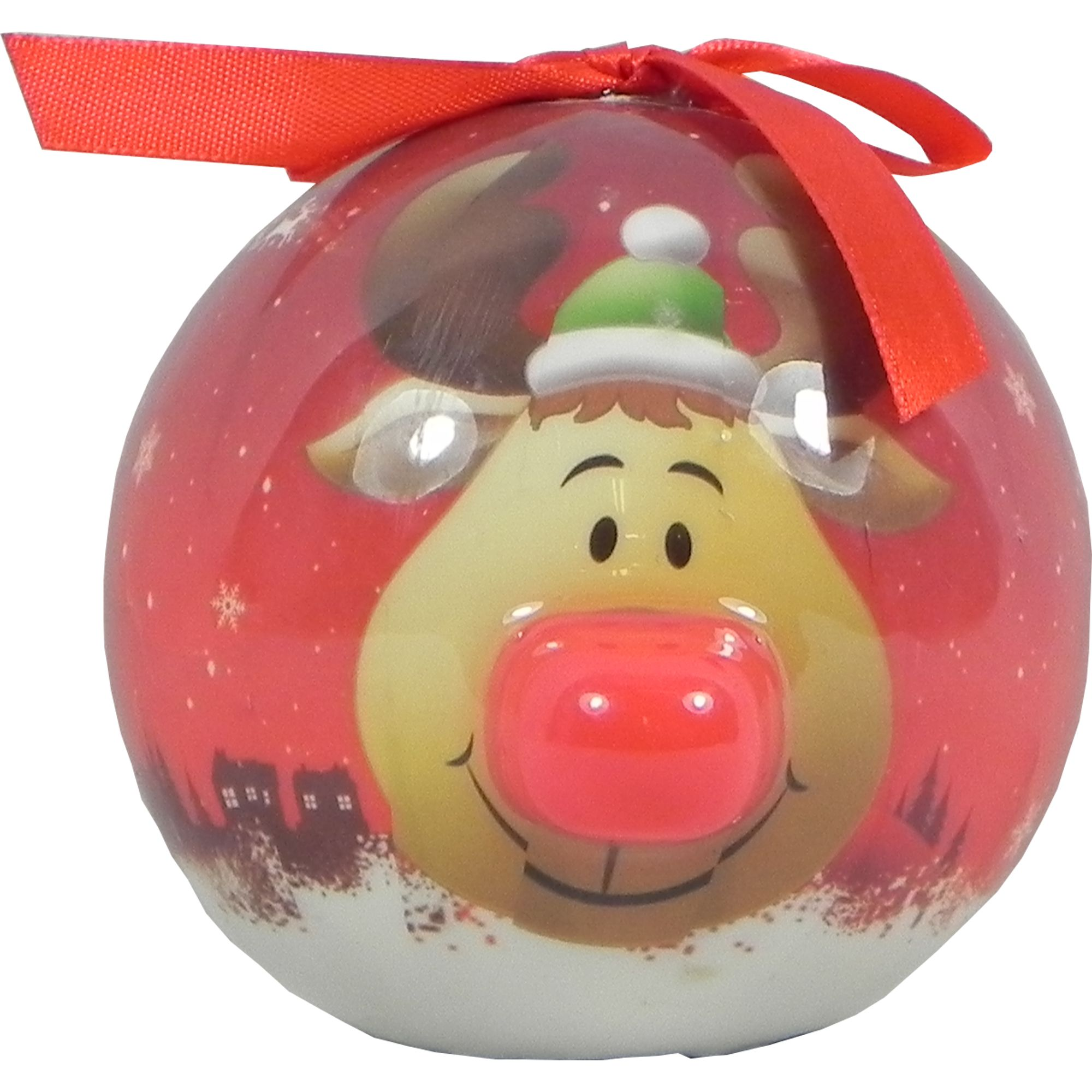 Reindeer Bauble With Light Up Nose