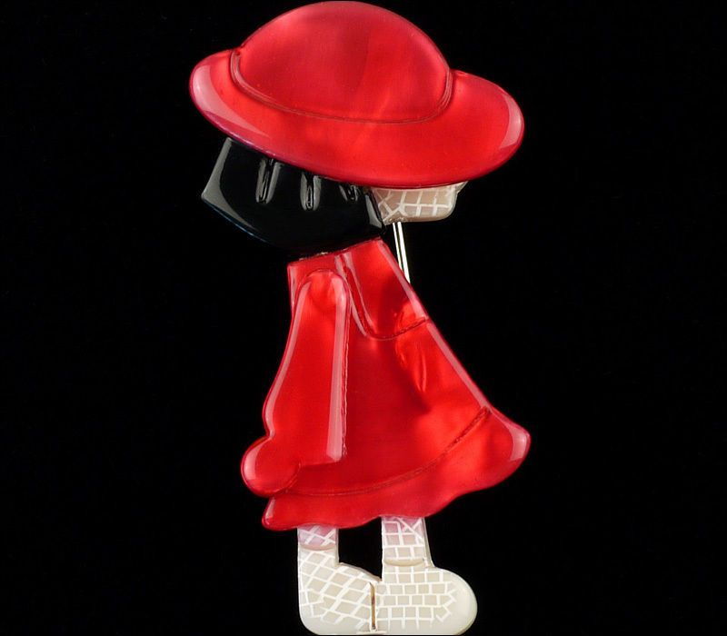 LEA STEIN FIGURAL RED DRESS POULBOT GIRL KID HAT BROOCH PIN FRENCH RESIN PARIS #LeaStein