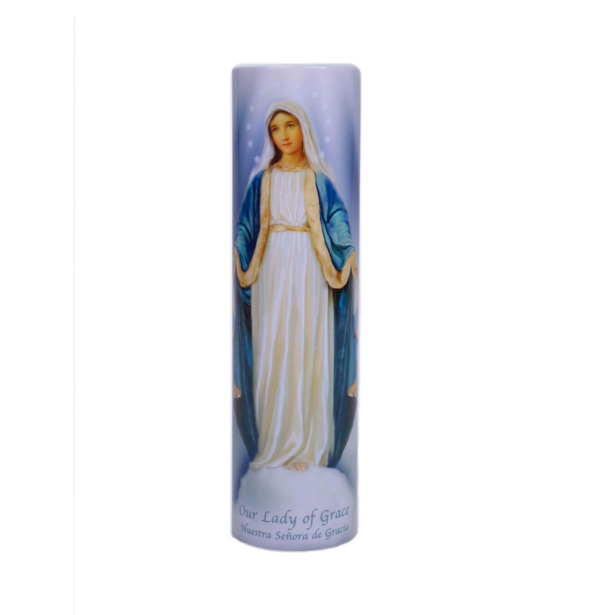 Immaculate Heart of Mary Religious Gift LED Flameless Devotion Prayer Candle 6 Hour Timer